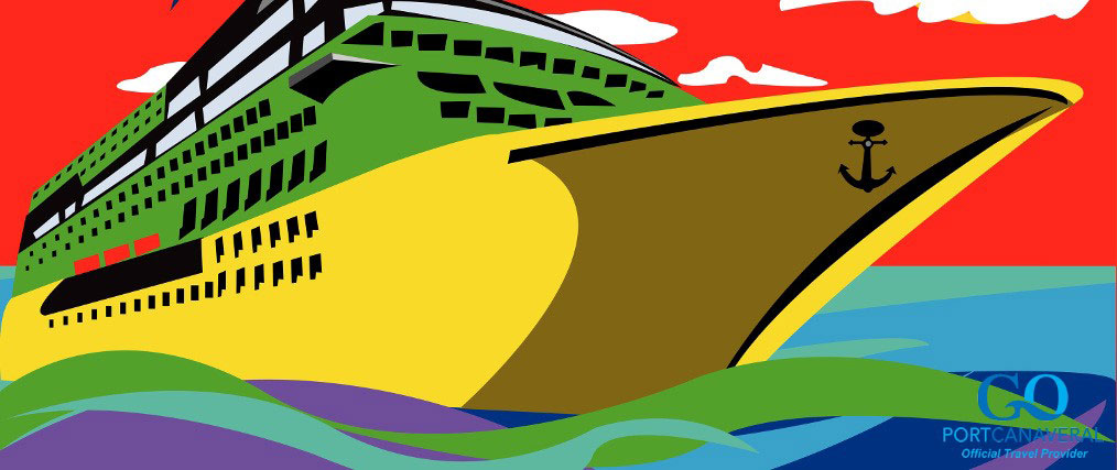 Abstract vector illustration of a cruise ship with a palm clouds above it and a lemon instead of the sun. Image is in pop-art style.