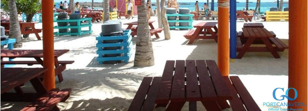 Tables for food in Coco Cay