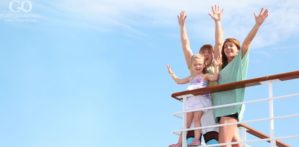 young happy family with little girl on cruise