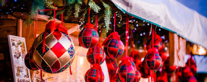 Colorful Christmas decorations on Trentino Alto Adige Italy Christmas market