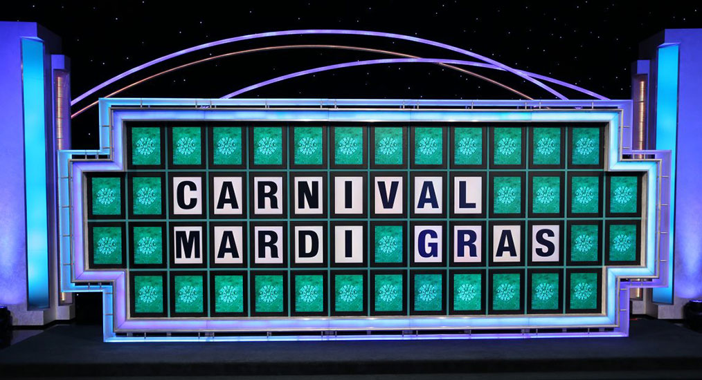 Carnival Mardi Gras ship name displayed on Wheel of Fortune