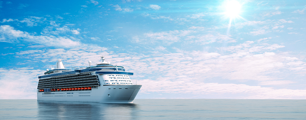 rendering of a cruise ship at sea
