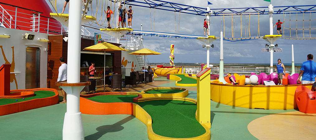 ropes course and mini golf on Carnival Breeze