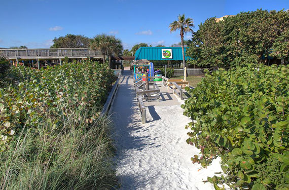 direct beach access path from International Palms Cocoa Beach hotel'