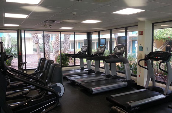 treadmills in fitness center of International Palms Cocoa Beach hotel'