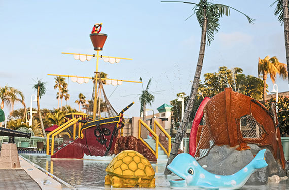 kid's pirate-themed swimming pool outside of International Palms Cocoa Beach hotel'