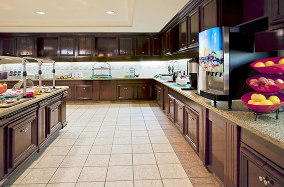 complimentary buffet breakfast serving area at Staybridge Suites Orlando Airport hotel'