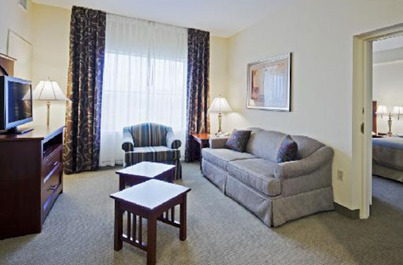 dresser, TV, coffee tables, sleeper sofa, and chair in a Staybridge Suites Orlando Airport hotel room'