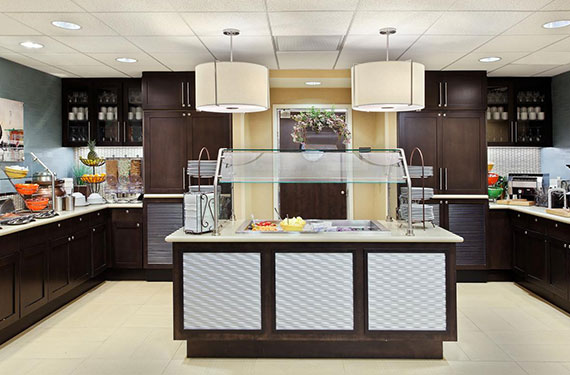 complimentary self-serve breakfast buffet at Homewood Suites Orlando Airport Gateway Village hotel