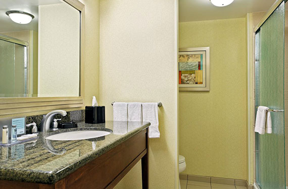 bathroom counter, sink, mirror, and shower in a Hampton Inn Orlando Airport Gateway Village hotel room