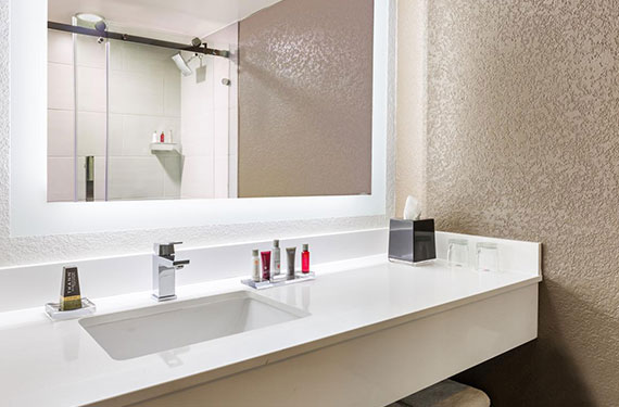 bathroom counter, sink, mirror, and reflection of shower in a Marriott Lakeside Orlando Airport hotel room'