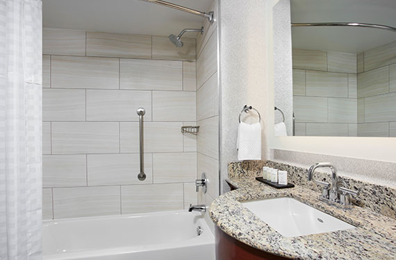 shower, tub, mirror, counter, and sink in an Embassy Suites Orlando Airport hotel room bathroom