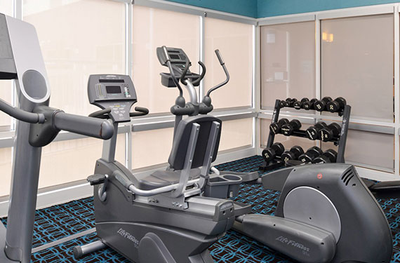 exercise equipment and weights in Fairfield Inn Orlando Airport fitness center '