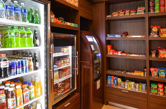 refrigerated beverages and snacks for sale in Fairfield Inn Orlando Airport hotel market 